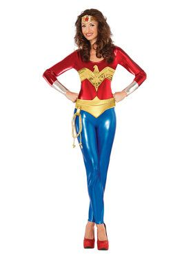 Womans Superhero Style Wonder Woman Classic Catsuit Costume