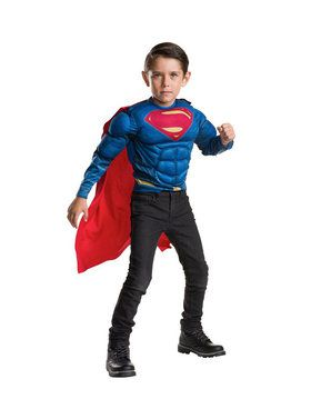 Superman Deluxe Child Muscle Chest Shirt and Cape Set