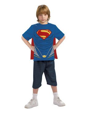 Superman Man of Steel Child Costume Top and Cape