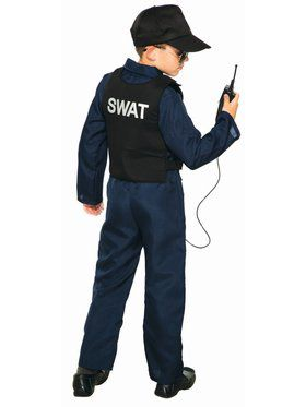 Swat Jumpsuit (Unisex) And Cap Child Costume