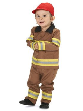 Tan Firefighter with Cap Infant Costume