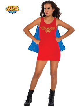 Tank Dress with Removable Cape Teen Wonder Woman Costume