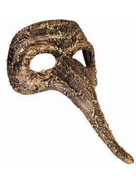Textured Long Nose Mask Gold