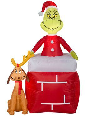 Airblown Inflatable The Grinch & Max Chimney