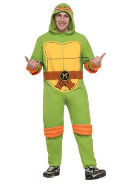 Adult Michelangelo Hooded Jumpsuit Costume