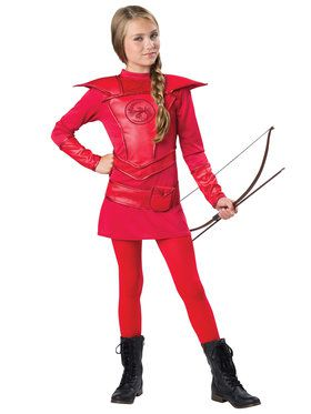 Tween Girls Red Warrior Huntress Costume