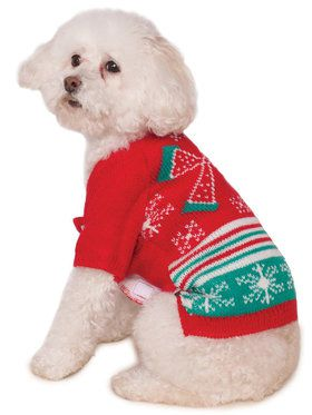 Ugly Christmas Sweater with Bow Pet Costume XXL