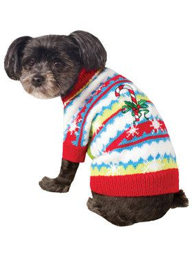 Ugly Christmas Sweater with Candy Canes Pet Costume