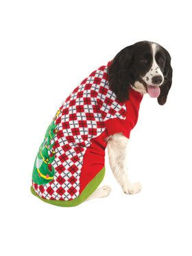 Ugly Christmas Sweater with Trees Pet Costume
