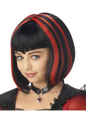 Vampire Girl Black And Red Wig Child/twe