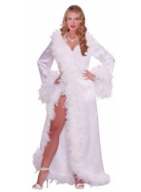 Vintage Hollywood Marabou Satin Robe Adult Costume