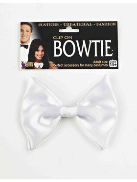 Adult Clip On White Bow Tie
