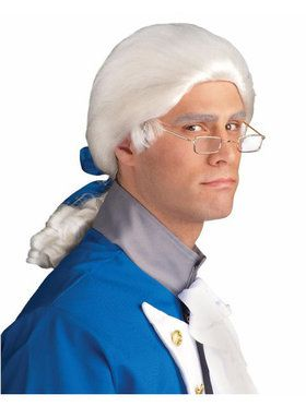 White Duke Wig With Bow Adult