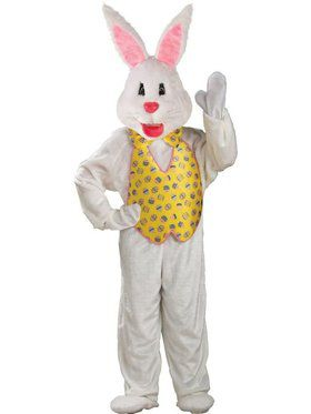 White Easter Bunny Mascot With Yellow V