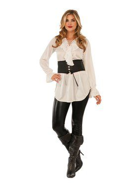 White Lace - Up Pirate Blouse Adult Costume