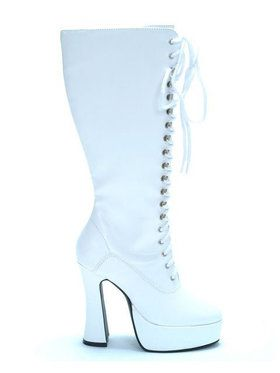 White Patent Lace-up Boots Adult