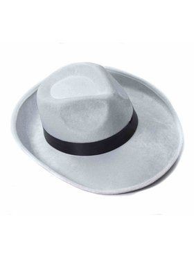 White Velvet Fedora with Black Band for Adults