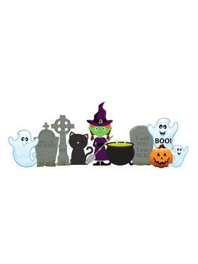 Witch And Ghosts Outdoor Plastic Decoration