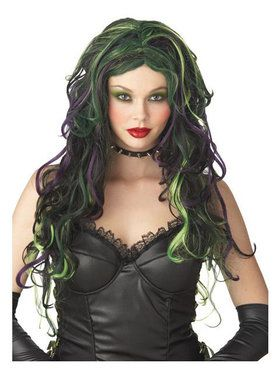 Black Green and Purple Witch Wig