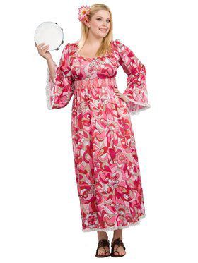 Womans Plus Size Hippie Flower Child Cos