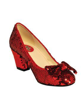 "Women's 2 1/2"" Red Sequin Pump w/ Bow"