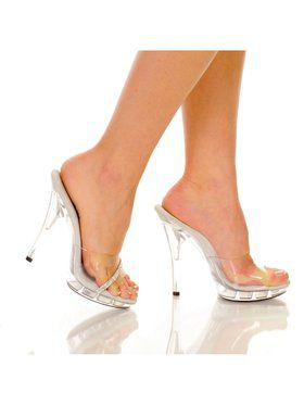 "Women's 5"" Platform Mule Clear W/Rhinestone Strip Upper"