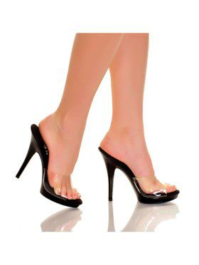 "Women's 5"" Platform Mule w/Clear Upper And Black Bottom"