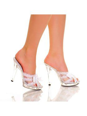 "Women's 5"" Platform Mule With Satin Bow And Lace Vamp"