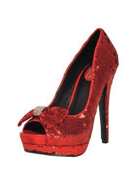 "Women's 5"" Red Sequin w/ Diamond Bow"