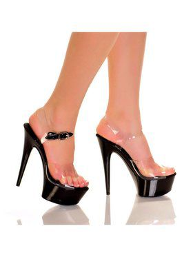 "Women's 6"" Clear Upper Strap Heel with Solid Bottom"