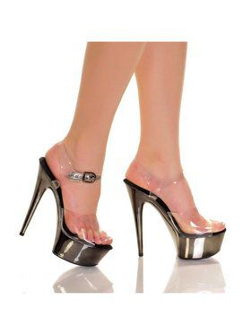 "Women's 6"" Clear Upper Strap with Pewter Bottom Heels"