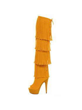 "Women's 6"" Micro Suede Open Thigh High Fringe Boot"