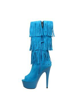 "Women's 6"" Micro Suede Western Style Fringe Boot"