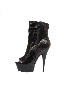 "Women's 6"" Open Toe Sequin Bootie With Side Zip"