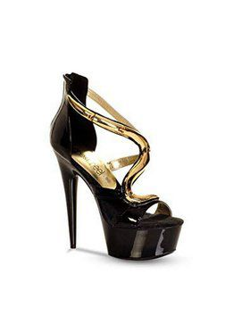 "Women's 6"" Platform With Ornate Metal Snake Design On Instep"
