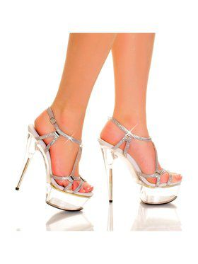 "Women's 6"" Strappy Rhinestone And Glass Accented Platform Sandal"