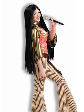 60s 70s Hippies Disco Costumes Buycostumes Womens Long Black Babe
