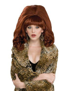 Womens Big Red 60s Teased Wig