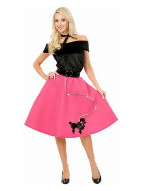 Womens Black And Fuchsia Poodle Skirt An