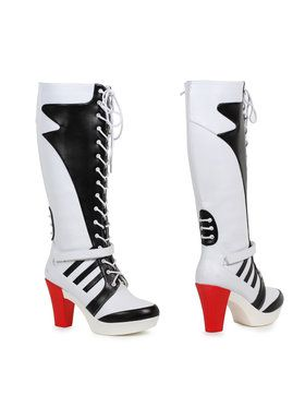 Womens Black and White Lace up Squad Boot