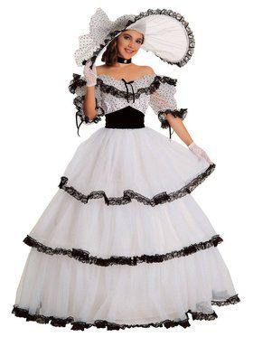 Womens Black And White Southern Belle Co