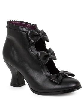 Women's Black Ankle Boots with Bows 6