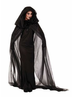 Womens Black Haunted Cape And Dress Cost