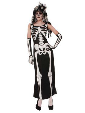 Skeleton Long Dress Costume
