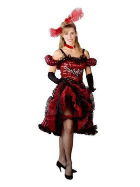 Womens Cancan Girl Red Costume
