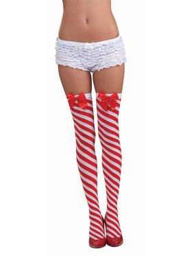 Women's Candy Cane Thigh Highs