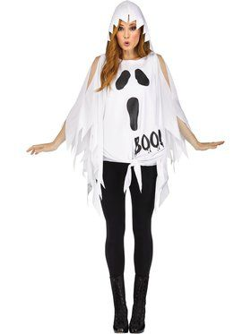 Womens Ghost Glitter Poncho Costume