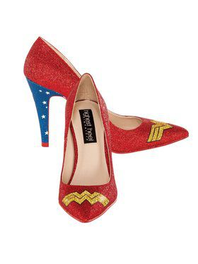 Women's Classic Wonder Woman Logo Glitter Pump