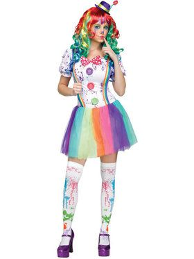 Women's Crazy Color Clown Costume