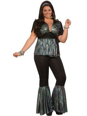 Womens Curvy Disco Dancer Costume